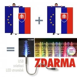 2 sady SR+EÚ zástava 100x150 cm + LED stromček zadarmo