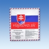 SR vlajka s textom hymny SR a preambulou Ústavy SR s ozdobným lemom