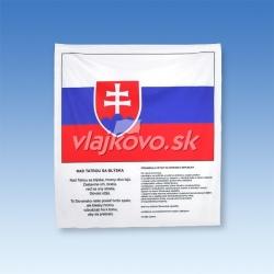 SR vlajka s textom hymny SR a preambulou Ústavy SR