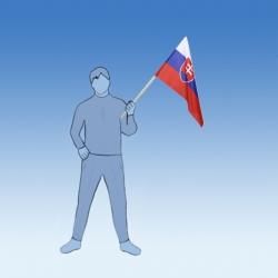 SR vlajka 60x40 cm + drevená tyč