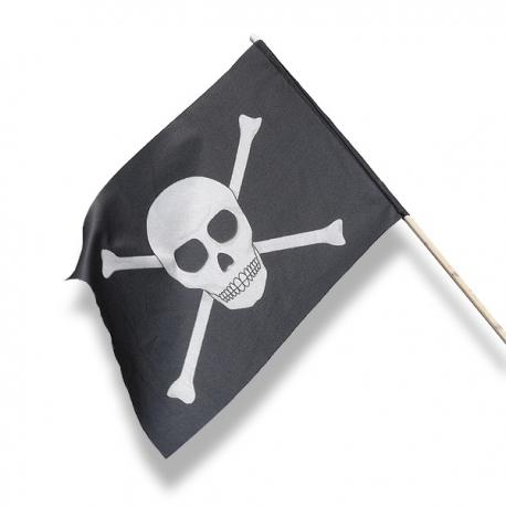Pirátska vlajka 30 x 20 cm, mávatko na paličke