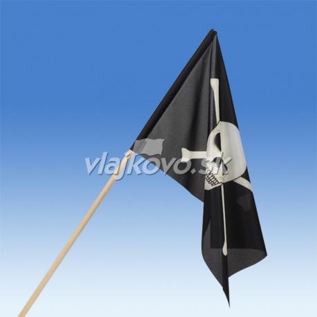 Pirátska vlajka 60 x 40 cm, mávatko na paličke
